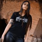 Metallic Sabaton Logo T-shirt Frontside Model