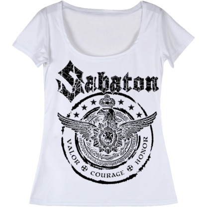 Wings of glory Sabaton white tshirt frontside
