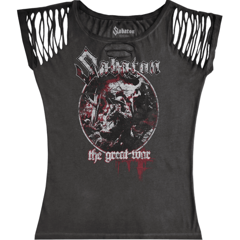 Crying Soldier Sabaton Ripped T-shirt Women Vintage Collection Frontside