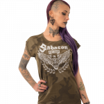 War and Peace Eagle Sabaton Camo T-shirt Women Frontside Model