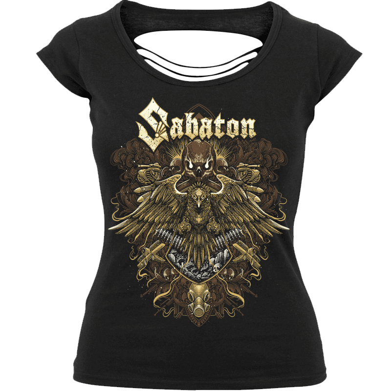 War Eagle Cut Up Back Sabaton T-shirt Women Frontside
