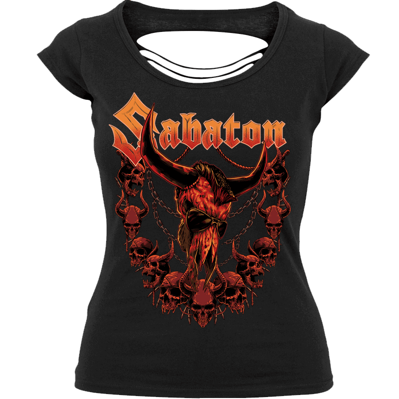 Wacken 2020 Exclusive Cut Up Back Sabaton T-shirt Women Frontside
