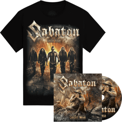 The Great War CD + The Great Tour of North America 2019 Sabaton Official T-shirt Bundle