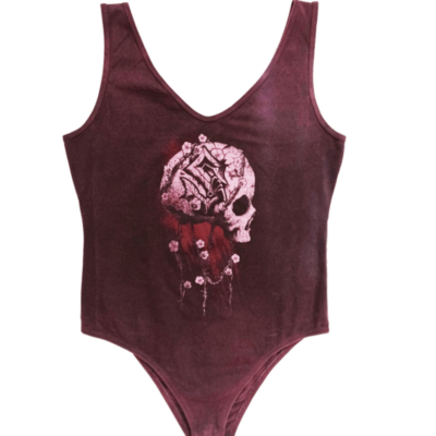 Barbed Skull Rose Retro Bodysuit Women Frontside