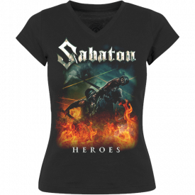 Heroes on European Tour 2014-2015 V-Neck Sabaton T-shirt Women Frontside