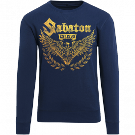War and Peace Gold Eagle Sabaton Navy Crewneck Frontside