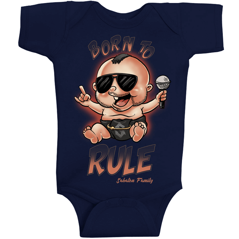 Born to Rule Sabaton Navy Baby Bodysuit Frontside