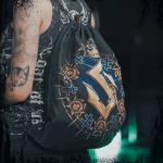 Livgardet Sabaton Drawstring Bag Black Closeup Model