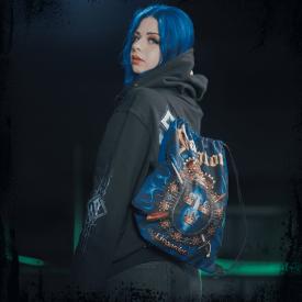 Livgardet Sabaton Drawstring Bag Dark Navy Frontside Model