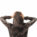 Metal Roses Dark Camo Sabaton Cropped Hoodie Women Backside Model