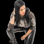 Metal Roses Dark Camo Sabaton Cropped Hoodie Women Frontside Model