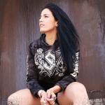 Metal Roses Sabaton Dark Camo Cropped Hoodie Women Zayk Model