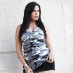 Sabaton Camo Tank Top Women Frontside Zayk Model